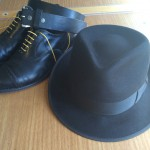 Black leather; black hat